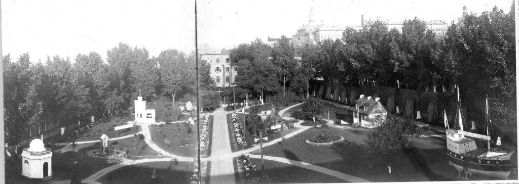 Vue sur le jardin de l'Hôtel-Dieu de Québec