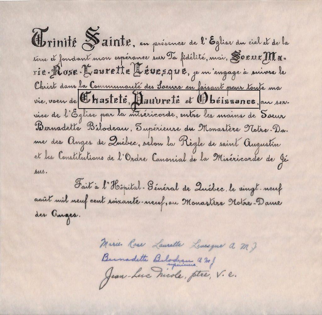 Vœux perpétuels de sœur Marie-Rose-Laurette Lévesque