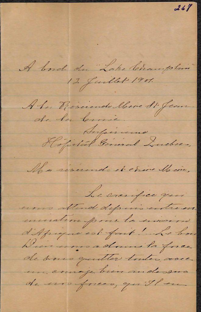 Première page d'une lettre
